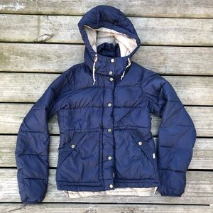 Burton navy zip up hooded puffer jacket